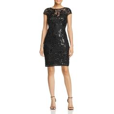 8220653ee27 A mix of gorgeous lace and dazzling sequins makes this Adrianna Papell  sheath dress sparkle with glamour.