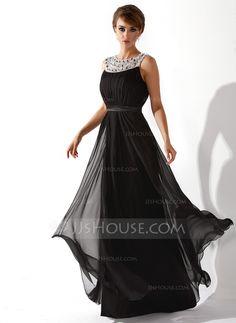 Corte A/Princesa Escote redondo Vestido Chifón Tul Charmeuse Vestido de noche con Volantes Bordado (017020923)