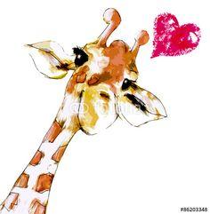 Poster, Tablou Giraffe mit Herz Giraffe Quotes, Funny Giraffe, Giraffe Art, Giraffe Pictures, Cute Pictures, Animal Cushions, Spirit Animal, Cute Drawings, Watercolor Paintings