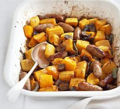 butternut squash and sausage Bbc Good Food Recipes, Dinner Recipes, Yummy Food, Healthy Recipes, Feel Good Food, Always Hungry, Butternut Squash, Sweet Potato, Food And Drink