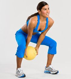 Stand with feet a little more than shoulder-width apart, knees slightly bent, holding ball.  Squat, swinging ball between legs behind you, then immediately stand and swing ball up in front of body and directly overhead.  Do 20 reps.
