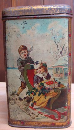Vintage French cocoa tin, Four Seasons - L'hiver / Winter Vintage Canister Sets, Vintage Tins, French Vintage, Ghost Of Christmas Past, Tin Containers, Tea Tins, Tin Toys, Vintage Holiday, 2 Colours