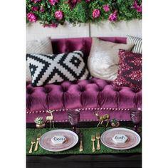 Sweetheart Table Inspo   #experienceEBR #gold #pink #purple #wedding #decor #placesetting #deer #woodland #modern #botanicaspecialtyrentals