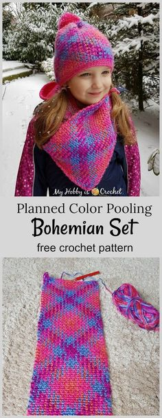 Crochet Patterns Scarves Planned Color Pooling Bohemian Hat & Cowl Set – Free Crochet Patterns on myhobby… Crochet For Kids, Easy Crochet, Free Crochet, Knit Crochet, Crochet Hats, Crochet Granny, Baby Set, Crochet Scarves, Crochet Clothes