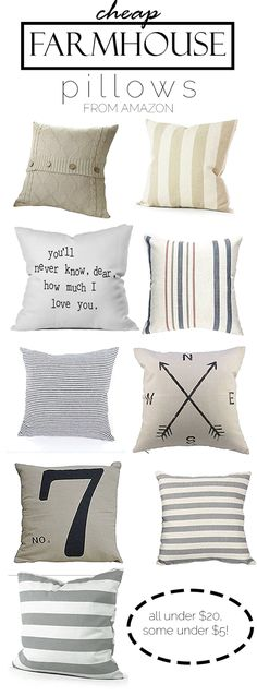 Great site to find cute and cheap farmhouse pillows! Farmhouse decor and decorating ideas