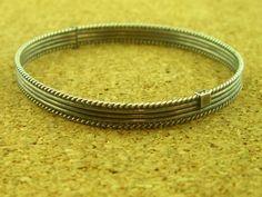 Bracelet BOHO STACK 'EM  Vintage Roped Sterling Silver Hinged Bangle 10.8g 6.5in #BangleBOHO