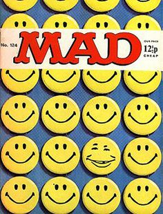 The Smiley face was the perfect positive feel good icon and and was adopted by sub  / counter culture.  In May 1972 comic magazine Mad used the Smiley on its front cover but with the features of Alfred E Neuman, showing how the face could be adapted to give it subtler undertones and meanings.
