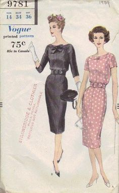 Vogue Sewing Pattern 50s 60s Slim Fit Wiggle Dress Scoop Neck Short Sleeves Mad Men Style Bust 34