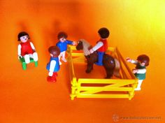 5 mini clicks de Famobil - Geobra 1981- pony, vallado y silla verde. (Juguetes - Figuras de Acción - Playmobil)