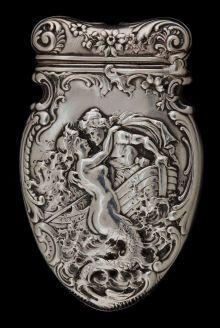Mermaid~♥Silver Smalls:Match Safes, circa and man in boat Vintage Silver, Antique Silver, Art Nouveau, Wallace Silver, Cigarette Case, Merfolk, Silver Spoons, Metal Working, Vintage Items