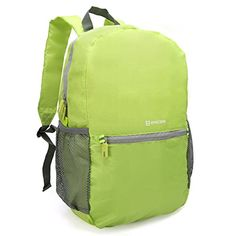Packable Daypack  Evecase Lightweight Water Resistant Outdoor Hiking Backpack  Green >>> Details can be found by clicking on the image. (This is an affiliate link)