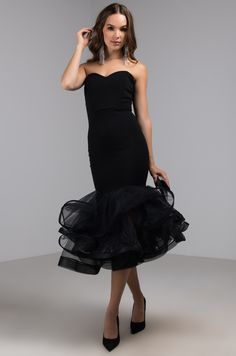 462818ff64f AKIRA Label Sweetheart Neckline Special Occasion Midi Dress with Tulle  Ruffle Mermaid Hem in Black