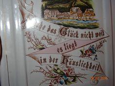 SUPERBE RARE ANCIEN porte louche émaillé décor allemand + boite à sel