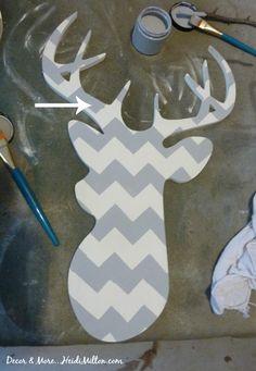 paris gray deer head