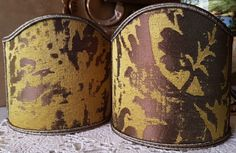 Pair of Clip-On Shield Shades Gold Jacquard Rubelli Fabric Gritti Pattern Mini Lampshade - Made in Italy by OggettiVeneziani on Etsy