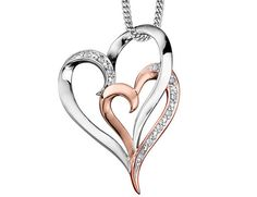 Double Heart Diamond Pendant Necklace in 10K Rose and White Gold with Chain