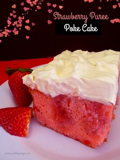 Strawberry Poke Cake  sounds SO GOOD!  uses frozen strawberries vanilla pudding, cool whip , and cake mix