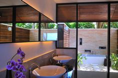 One of the Most Beautiful Resort Design in Maldives : Cool Lily Beach Resort Hidden Light Rectangular Mirror White Sinks