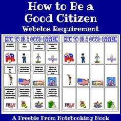 My 10 year old son just received his Webelos badge this week! One of his requirements was to make a poster about how to be a good citizen. We found clipart that represented what he thought was impo…