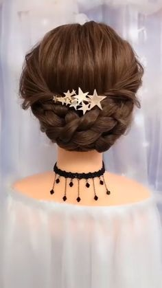 So beautiful and easy to recreate romantic braided hair updo idea. So beautiful and easy to recreate romantic braided hair updo idea. Easy Hairstyles For Long Hair, Braids For Long Hair, Cute Hairstyles, Braided Bun Hairstyles, Braid Hair, Party Hairstyles, Hair Updo Easy, Simple Hair Updos, Little Girl Wedding Hairstyles