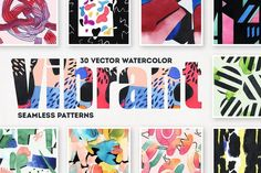 Vibrant Watercolor Patterns by pixelbuddha_graphic