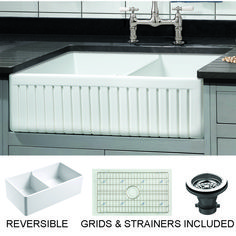 Empire Industries Sutton Place x White Double Offset Bow at Lowe's. Free grid and strainer! Our fine fireclay kitchen sinks are handcrafted in the old English tradition of solid casting, making them stronger than hollow Fireclay Farmhouse Sink, Fireclay Sink, Farmhouse Sink Kitchen, Rustic Kitchen, Kitchen Country, Primitive Kitchen, Kitchen White, Country Farm, Country Primitive