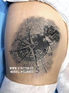 Pazzle compass tattoo   - 100 Awesome Compass Tattoo Designs  <3 <3