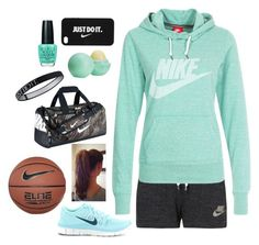 """""""NIKE Basket Ball"""" by eemsles ❤ liked on Polyvore featuring NIKE, Topshop and OPI"""