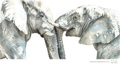 """One of my favourite watercolour paintings ever, entitled """"Empathy"""". 🐘 Check out my latest blog post, where I share some of my favourite childhood drawings alongside their """"grown-up"""" buddies. What a lovely walk down memory lane, to discover some childhood drawings - I can still remember how happy I was creating them! #elephants #wildlifeart www.thehappystrugglingartist.co.za Ugly Duckling, Watercolour Paintings, Modern Artwork, Wildlife Art, Elephants, Being Ugly, Original Artwork, Lion Sculpture, Childhood"""
