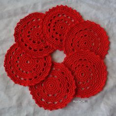 RED Crochet Coaster  Icelandic Production by HuldaGK on Etsy