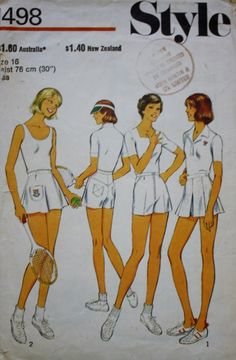 1970s TENNIS Shorts and Skirt Vintage Sewing Pattern Style 1498  Size 16 by…