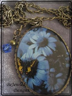 Blue Flower & Butterfly  Oval Pendant Necklace