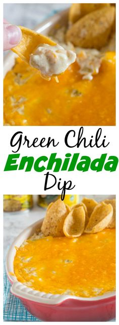 Green Chili Enchilada Dip – Get ready for game day with a creamy, cheesy, green chili enchilada dip recipe!