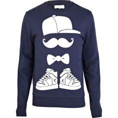 River Island Navy Moustache Snapback Print Sweatshirt ($44) ❤ liked on Polyvore