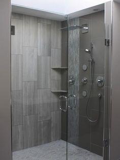 Vertical Tile, Shower Head, Tile Shower, Grey Tile, Shower Tile, Bathroom Shower, Bathroom Tile, Master Bathroom