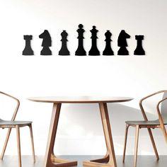 Drevená 3D dekorácia na stenu - nálepka Šach 1m | DUBLEZ