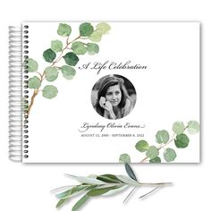 Memorial Service Sign in Book for A Life Celebration customized with your photo and wording. This photo funeral keepsake features your loved one's photo surrounded by hand-painted watercolor greenery. It's a fabulous keepsake for cherishing memories following the memorial.