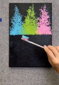 Canvas Painting Tutorials, Diy Canvas Art, Diy Painting, Tree Painting Easy, Painting & Drawing, Art Drawings Sketches Simple, Diy Art, Art Lessons, Flower Art
