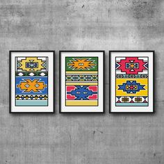 African print in a geometric African pattern from the Ndebele tribe in South Africa. This colorful abstract art print is ideal for home decor, office decor or a gift for friends Colorful Abstract Art, Geometric Art, Pattern Art, Print Patterns, African Pottery, Afrique Art, African Art Paintings, South African Art, African Design