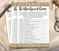 The Newlywed Game Bridal Shower Game  Guess What by ohellobride