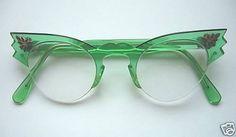 Vintage green cat's eye glasses
