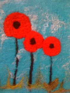 Original Art  Work  Hand felted Poppies by fantasytextiles on Etsy