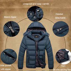 Mens Thick Solid Color Winter Hooded Deatchable Coat Slim Warm Jacket at Banggood