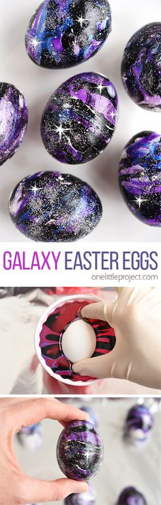 These galaxy Easter eggs made with nail polish and glitter are SO COOL and crazy fun to make! This is such a fun Easter craft to try and a totally different way to decorate your Easter eggs! Each one is completely unique and beautiful! Such a great galaxy craft and a stunning idea for Easter decorations!