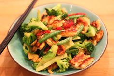 Halloumi Cheese with Broccoli, chilli and garlic. Great if you want to get away from meat for a while.
