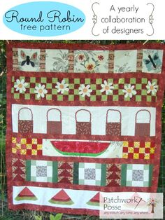 Round Robin #5 free quilt pattern that is designed by a collaborative team. There is a new one every year! Visit patchworkposse.com to get the pattern.