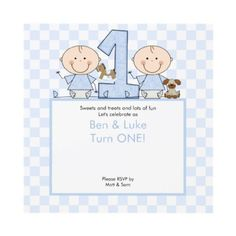 Twin Boys Stick Figure Twins Birthday Invitation by celebrateitinvites