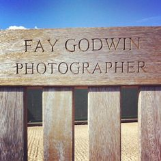 Fay Godwin's bench at Cliff End, Pett Level Camber Sands, Cliff, Coast, Bench, Carving, The Unit, Lettering, Photography, Photograph