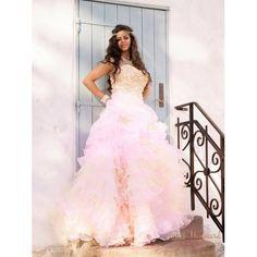 Lyserød prinsesse balkjole med krystal overdel