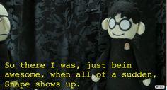 I love Potter Puppet Pals Harry Potter Pin, James Potter, Harry Potter Memes, Potter Puppet Pals, Eight Movie, Professor Severus Snape, No Muggles, Mischief Managed, Favim